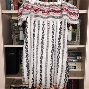 Red white and blue off the shoulder dress